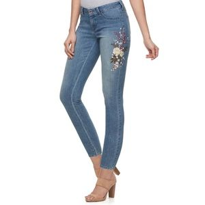 J. Lo Ankle Skinny Jeans Floral Embroidered Sz 12